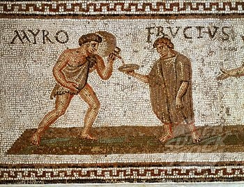 Fructus being served a drink by his slave Myro, mosaic, 3rd century AD, Roman from Uthina, Tunisia