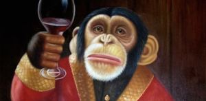 Monkey holding wine glass